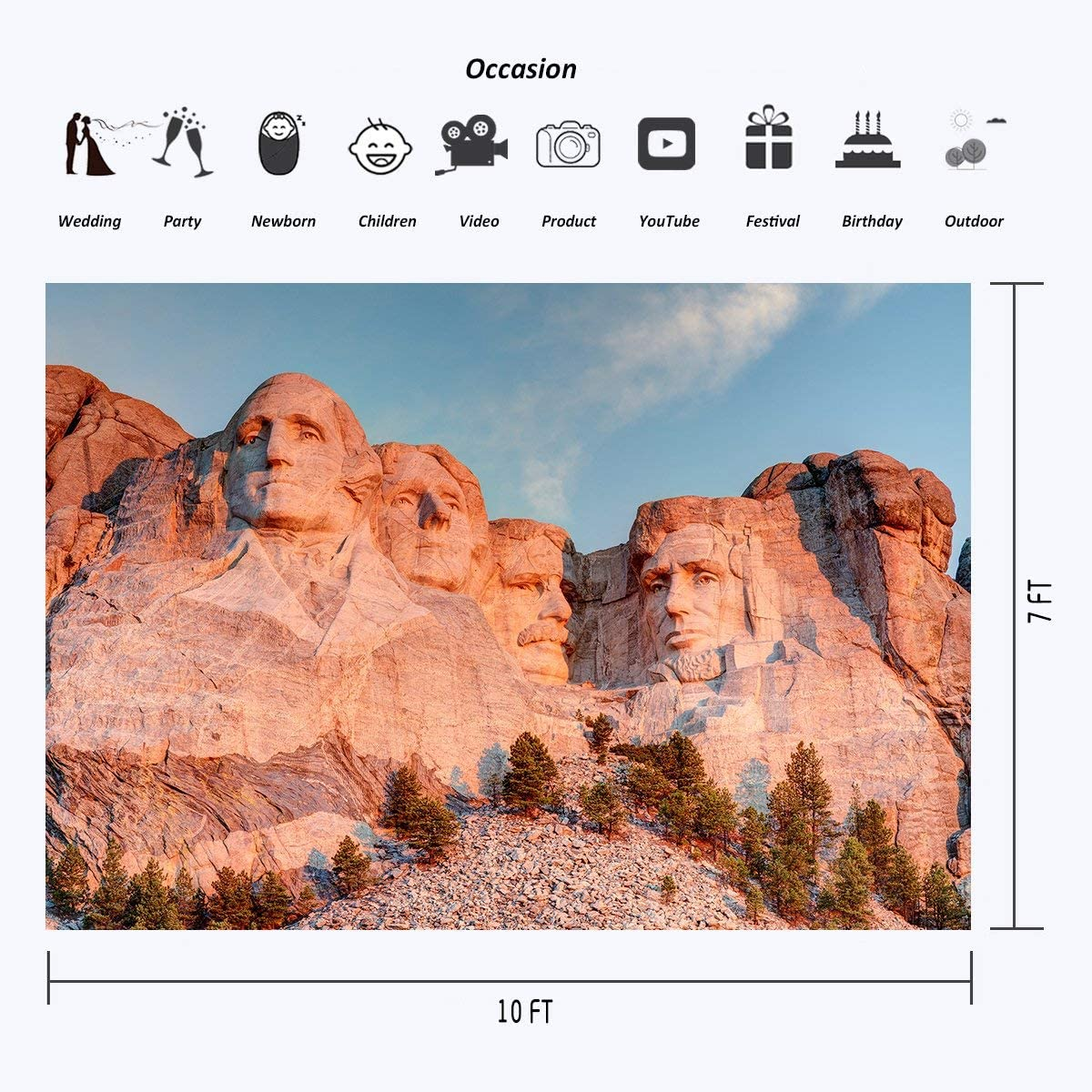 SZZWY 10 x 7 ft Polyester Rushmore Mountain Four Giants Statues Photography Backdrops Photo Studio Props American Presidential National Memorial Park Background Room Mural 107-81