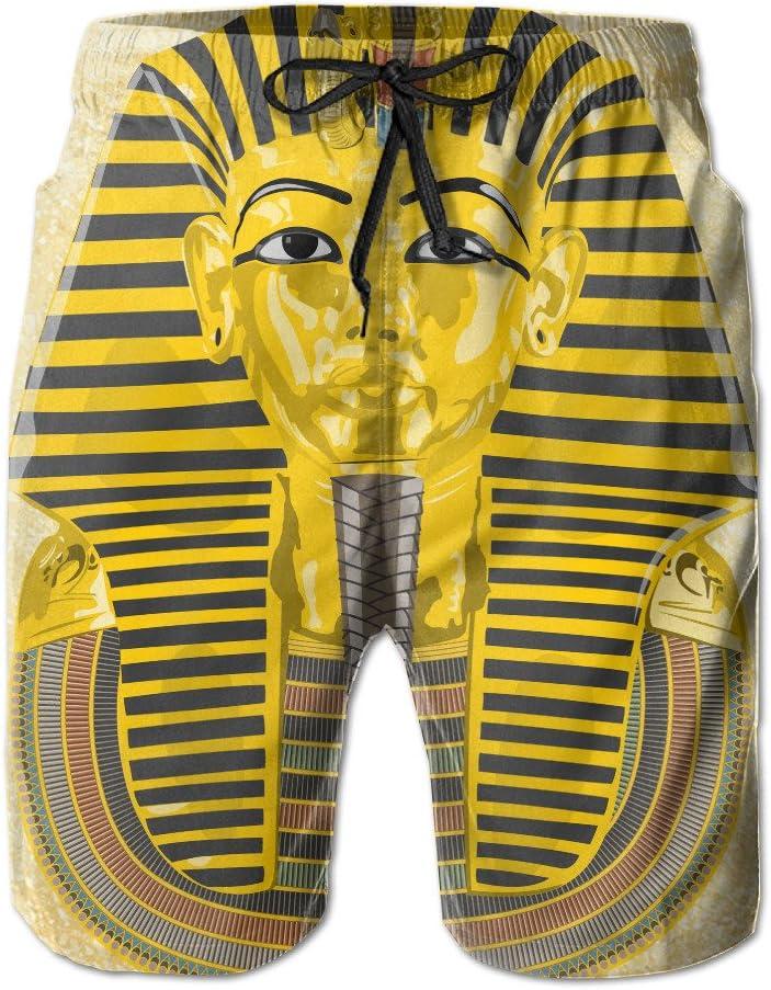 gogoswim Pharaoh Egypt Gold Egyptian Head Mens Beach Shorts Summer Swim Tropical