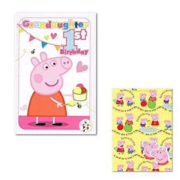 Peppa Pig Granddaughter 1st Birthday Card Gift Wrap