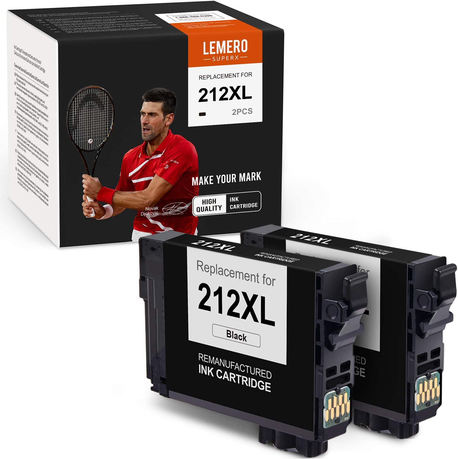LemeroSuperx Remanufactured Ink Cartridges Replacement for Epson 212XL T212XL Work for Expression Home XP-4100 XP-4105 Workforce WF-2850 WF-2830 (Black, 2 Pack)