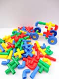 60 Pipe Pieces & 4 Wheels - Building Construction Toy Game Play & Discover Kids