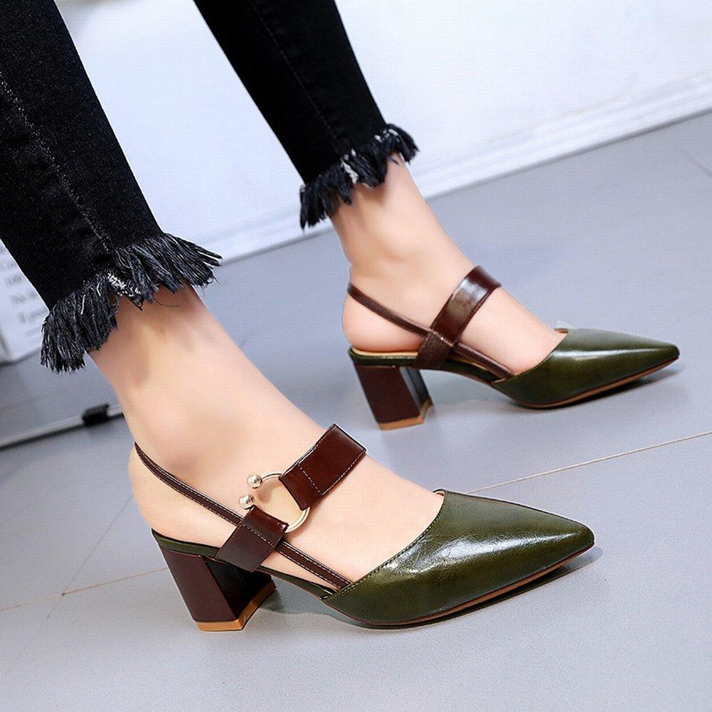 YTTY Einzelnen Schuhen Baotou Sandalen Weiblichen Spitzen High Heels Hohlen Schuhe  36|Armeegr眉n