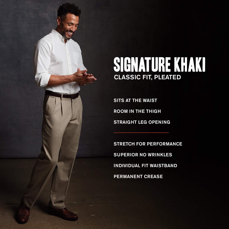 Dockers Mens Classic Fit Signature Khaki Lux Cotton Stretch Pants-Pleated