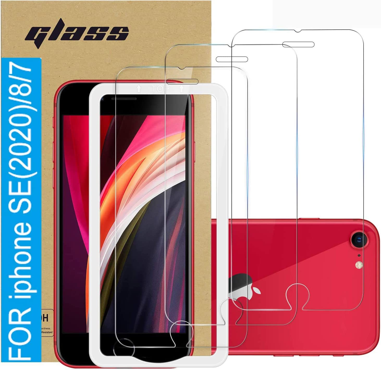 (3 Pack ) Amuoc Tempered Glass Film for Apple iPhone SE 2020 Screen Protector and iPhone 8/7 Screen Protector, with (Easy Installation Tray) Anti Scratch, Bubble Fre