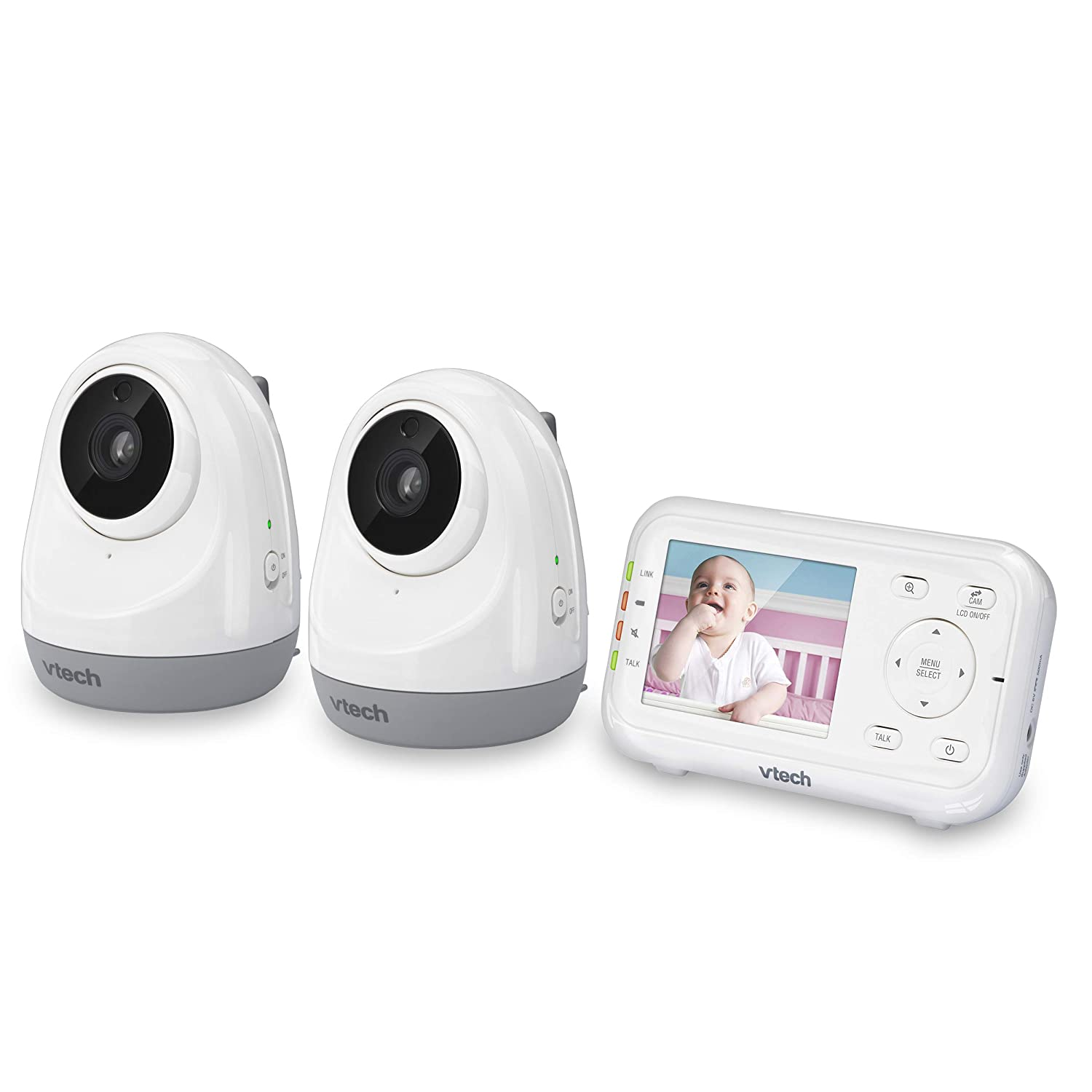 "VTech VM3261-2 2.8"" Digital Video Baby Monitor with 2 Pan & Tilt Cameras, Full Color and Automatic Night Vision, White"