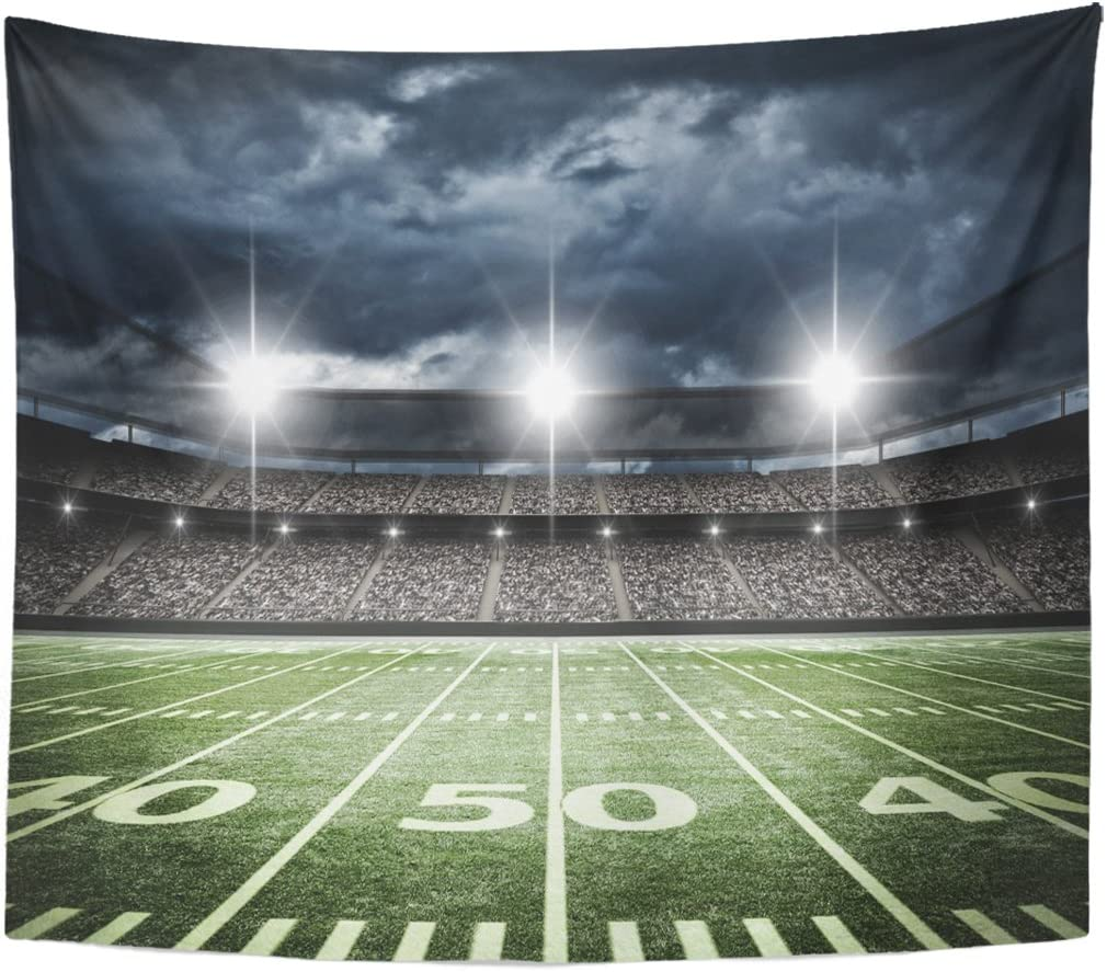 Emvency Tapestry Stadium American Football Satdium Field Light Night Soccer Turf Home Decor Wall Hanging for Living Room Bedroom Dorm 50x60 Inches