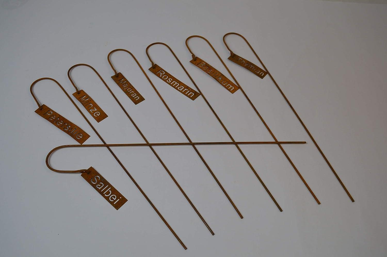 Dragimex Set 7 St/ück Kr/äuterstecker Kr/äuterschilder Metall mit Naturrost ca.5 X 40cm Thymian Salbei Minze usw.
