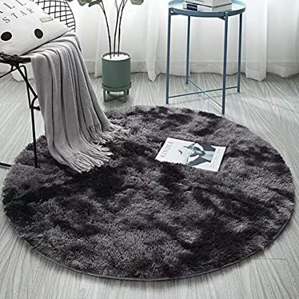UK Thick Shaggy Fluffy Rugs Mats Large Round Living Room Carpet Playing Mat