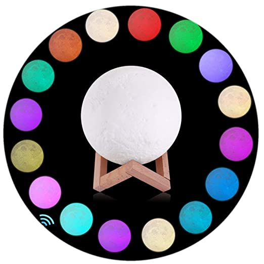 5.9 inch Full Moon Lamp, 3D Moon Lamp, LED 16 Colors Moon Lamp, Touch& Remote Control Decorative Moon Light.