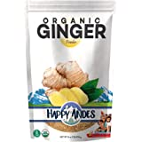 Happy Andes Organic Ginger Powder - Pure Ground Dried Root Superfood - Powdered Herbal Supplement for Natural Weight Loss and