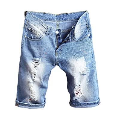 56cd590e547 KNUS Ripped Jean Shorts, Men Distressed Straight Slim Fit Elastic Denim  Shorts with Holes -