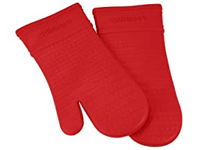 Cuisinart Silicone Oven Mitts, 2pk - Heat Resistant Silicone Oven Gloves to Safely Handle Hot Cookware Items - Flexible, Waterproof Silicone Gloves with Non-Slip Grip and Insulated Pockets - Red