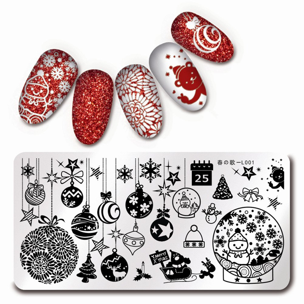 BORN PRETTY Nail Art Stamping Template Christmas Theme Russian Doll Snowflakes Sweater Xmas Manicure Print Image Plate