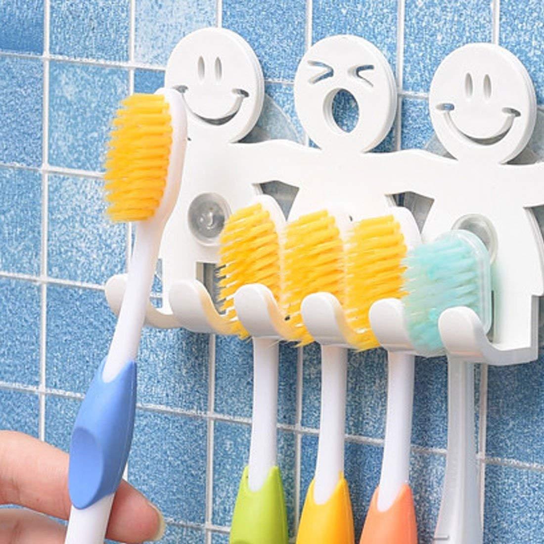 Cara Sonriente decoraci/ón del hogar Emoji Pared Godea Bonito Soporte para cepillos de Dientes con Ventosa para ba/ño 1 Talla /única