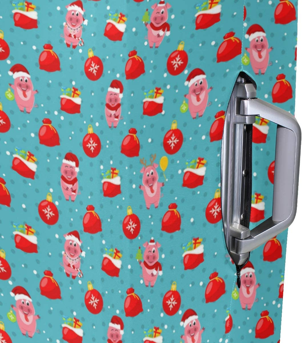 Fashion Travel Pigs Christmas Bag Red Luggage Suitcase Protector Washable Baggage Covers