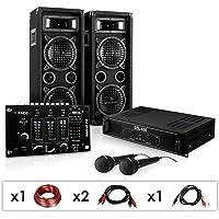 DJ-24M Karaoke-Komplett-PA-Set tolle Party-Musikanlage mit DJ-Mixer, 1200 Watt PA Boxen + Verstärker inkl. Kabel-Set & 2 Mikrofone ( für bis zu 150 Personen, USB - & Stereo-Cinch Eingang, 4x 16cm Subwoofer)