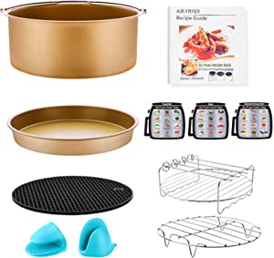 Air Fryer Accessories for GoWISE Ninja COSORI Cozyna Philips 5.3, 5.5, 5.8, 6 Qt Dishwasher Safe, Matte Gold (10 PCS)