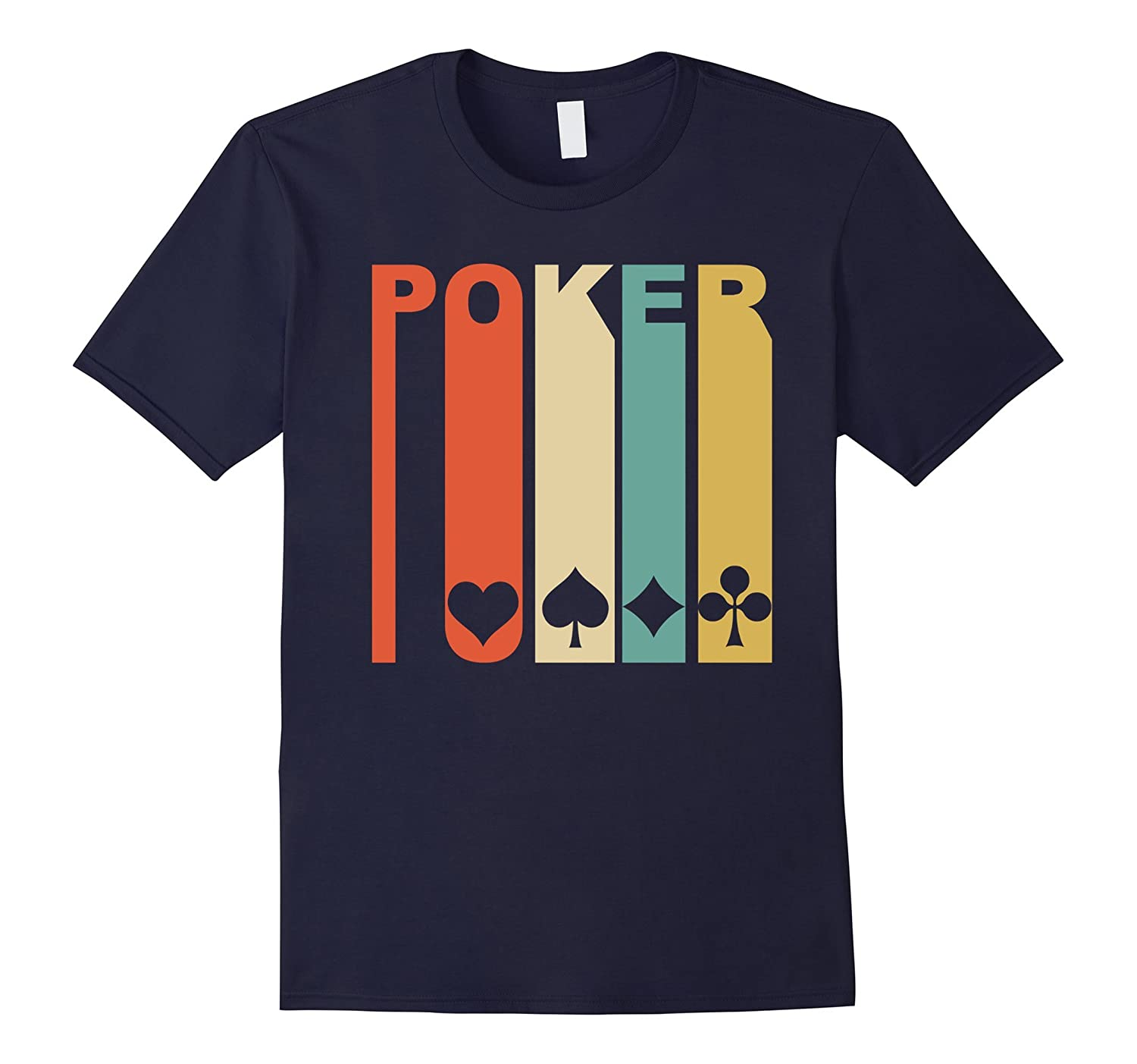 Retro 1970s Style Playing Card Suits Silhouette Poker Shirt-CL