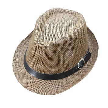 cf45bcd2e0a Panama Straw Hat, Quistal Unisex Fedora Trilby Gangster Cap Summer Beach  Sun Jazz Cap For Men Women (Coffee): Amazon.co.uk: Beauty