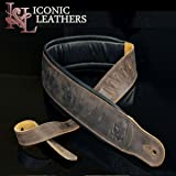 """Iconic Leathers 3.25"""" Wide Lightly Distressed Dark Brown Dual Padded Leather Guitar and Bass Strap IL-5DBrn"""