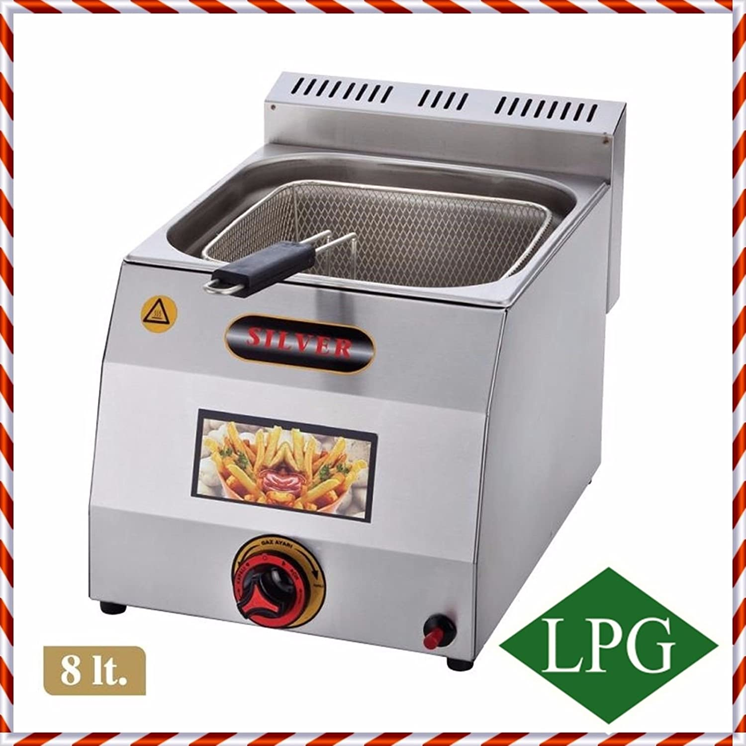 PROPANE GAS Commercial Kitchen Equipment 8 LT. CAPACITY with Basket and Lid INCLUDED Stainless Steel Commercial industrial Catering Restaurant Countertop Deep Fryer Propan LPG