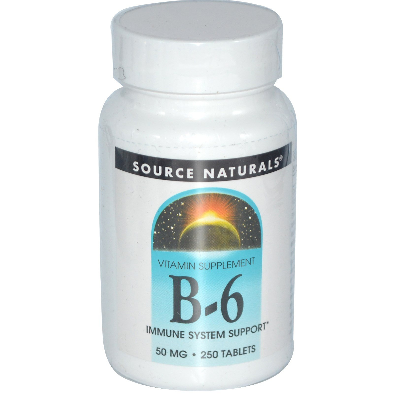 Vitamin B-6, 50 mg, 250 Tabs by Source Naturals (Pack of 6)