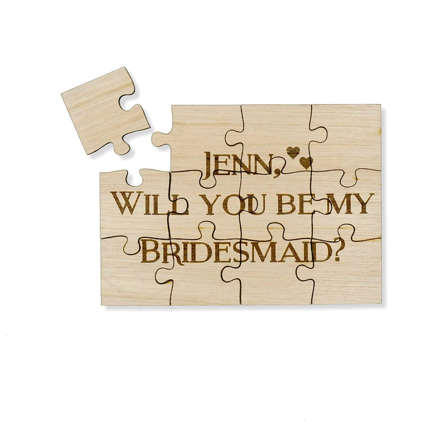 Unique Custom Personalized Wood Puzzle Wedding Party Will you be my bridesmaid Maid of Honor Flower Girl 12 Piece Jigsaw Mystery Puzzle 5x7 Sign
