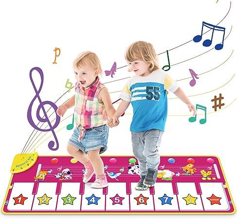 Vimzone Tapete para Piano, Alfombra Musical Tapete de Baile Música Teclado Tapete con 9 Teclas y 8 Sonido de Animales Regalo Ideal para Bebés Niños ...