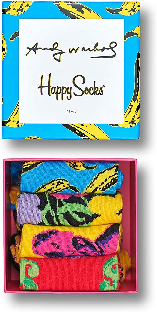New Mens Happy Socks Multi 4 Pack Andy Warhol Cotton//Polyamide Gift Set Casual