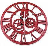 Orologio da Parete, Foxom Europea Retro 3D Ingranaggio Fatto a Mano Orologio, Rosso Ruggine