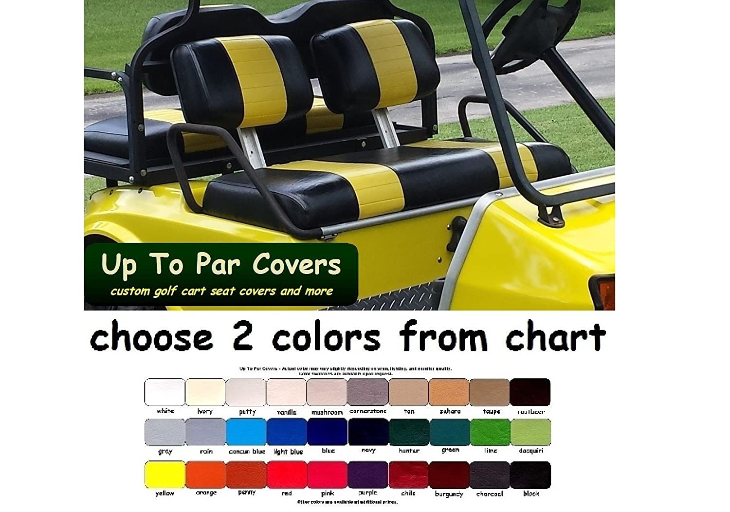 Club Car Pre-2000 DS Custom 2-Stripe Golf Cart Seat Cover Set Made with Marine Grade Vinyl - Staple On - Choose Your Colors From Our Color Chart!