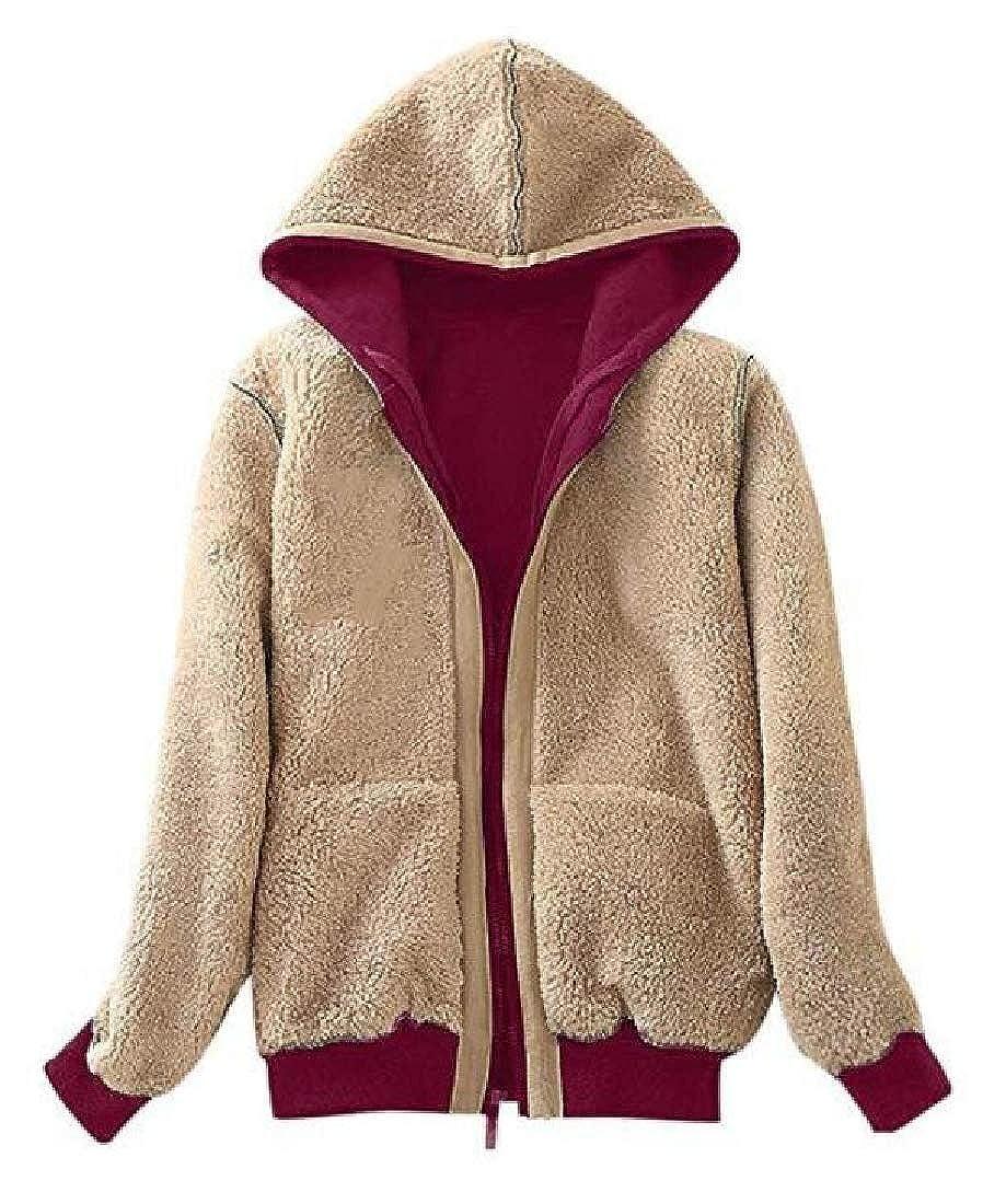 Rrive Women Linen Fleece Outwear Winter Hooded Zip-Up Sweatshirt Jacket