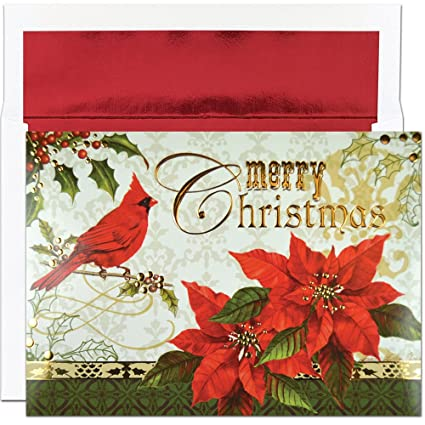 Amazon great papers holiday greeting card merry christmas holiday greeting card merry christmas cardinal 16 cards16 envelopes m4hsunfo