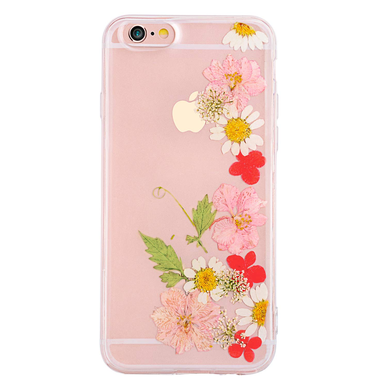 Pretty flower case for iphone 6 tipfly iphone 6s daisy floral real pressed dry flowers cover slim cute clear flexible rubber shell protective for iphone
