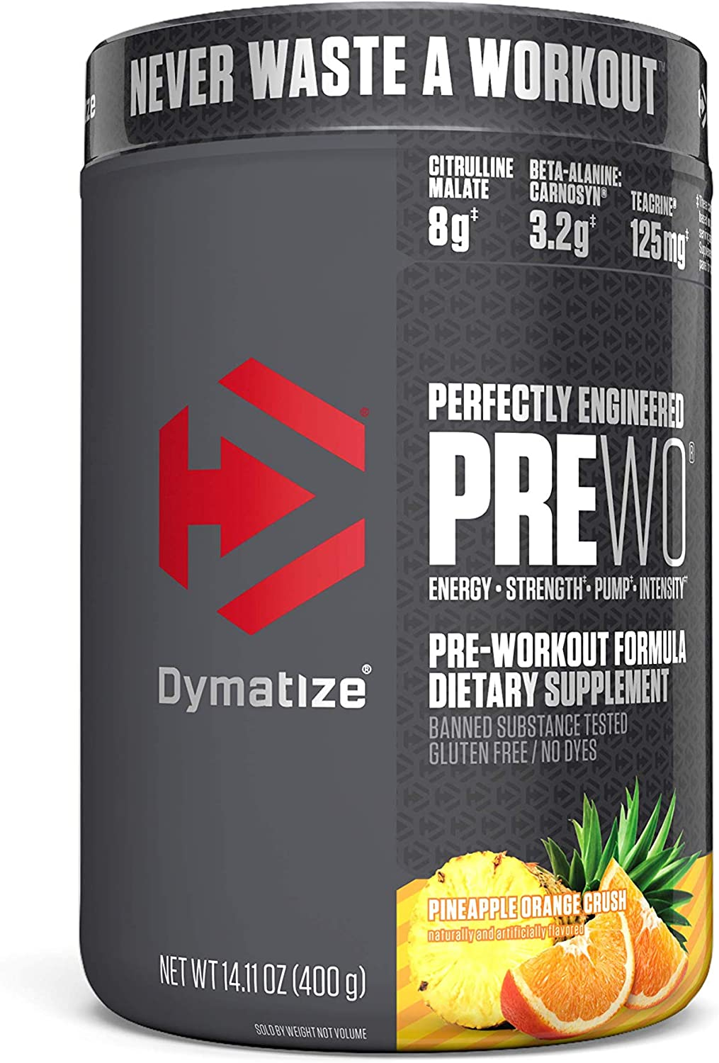 Dymatize PreW.O., Pre Workout Powder with Caffeine, Maximize Energy, Strength & Endurance, Amplify Intensity of Workouts, Pinapple Orange Crush, 400g