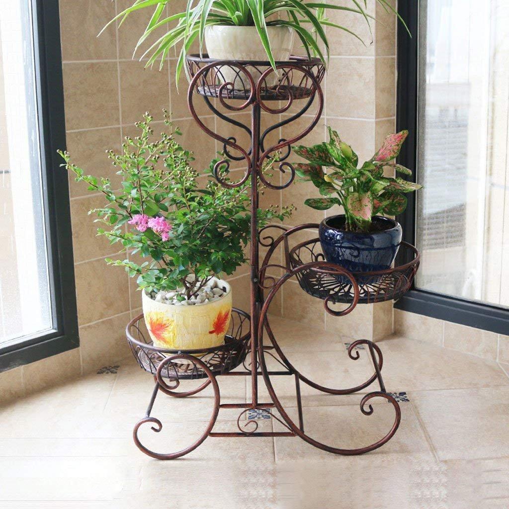 JU Blaumenregale Europäische Blaumenregale Eisen Etagenboden Balkon Innenboden - Stil Pastorale Pflanzen Racks Töpfe Regal