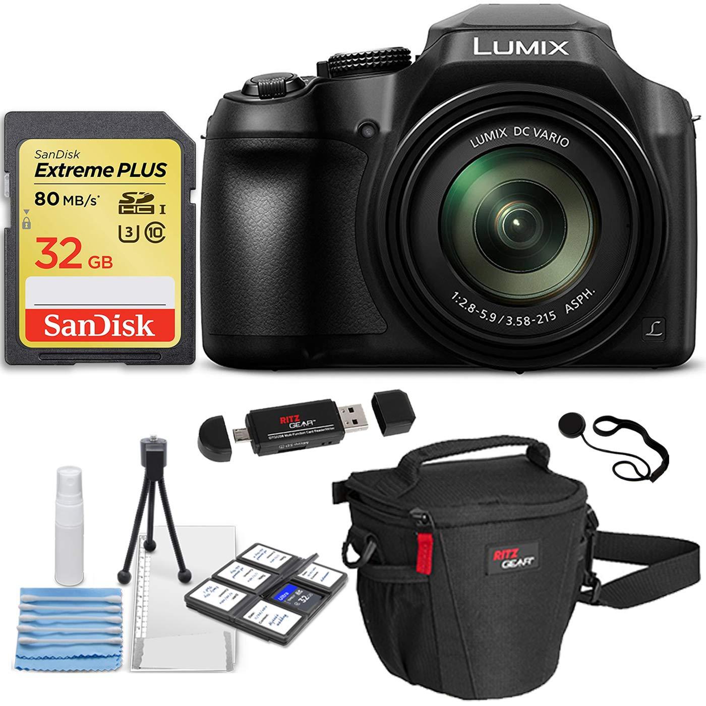 Panasonic Lumix DC-FZ80 Digital Camera, Sandisk Ultra 16GB SDHC 2 Pack Bulk Memory Cards, Ritz Gear Camera Bag, Cleaning Kit and Accessory Bundle
