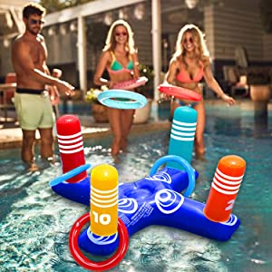 Inflatable Ring Toss Pool Game Toys Floating Swimming Pool Ring with 4 Pcs Rings for Multiplayer Water Pool Game Kid Family Pool Toys & Water Fun Beach Floats Outdoor Play Game Party Favors for Adults