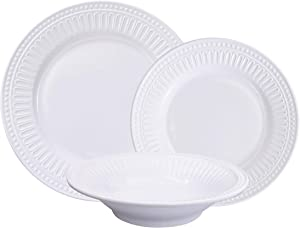 First Design Global White Classic 12 Piece Melamine Dinnerware Set, Dishes for Everyday Use, Service for 4