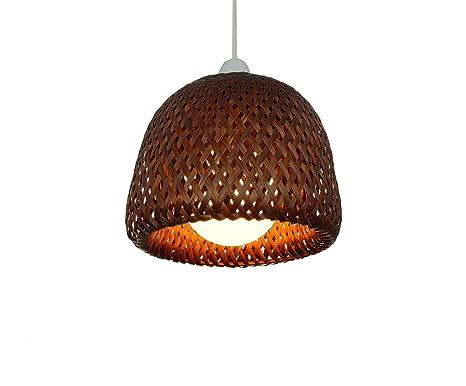 Bambú de cúpula de mimbre marrón doble tulipa de lámpara de ...