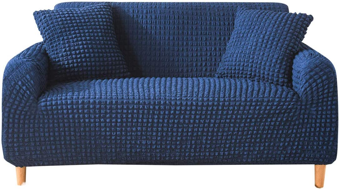 MXCELL 3D Bubble Lattice Sofa Cover, Stretchy Sofa Slipcover Washable Settee Cover Elegant Seersucker Furniture Protector (Greek Blue)