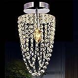 KAWELL Moderne Lustre en Cristal Lampe de Plafond Plafonnier Lumière K9 Cristal Abat-jour Chrome Acier Inoxydable pour Chambre à Coucher, Couloir, Salon (Hauteur 35CM, Diamètre 17CM)