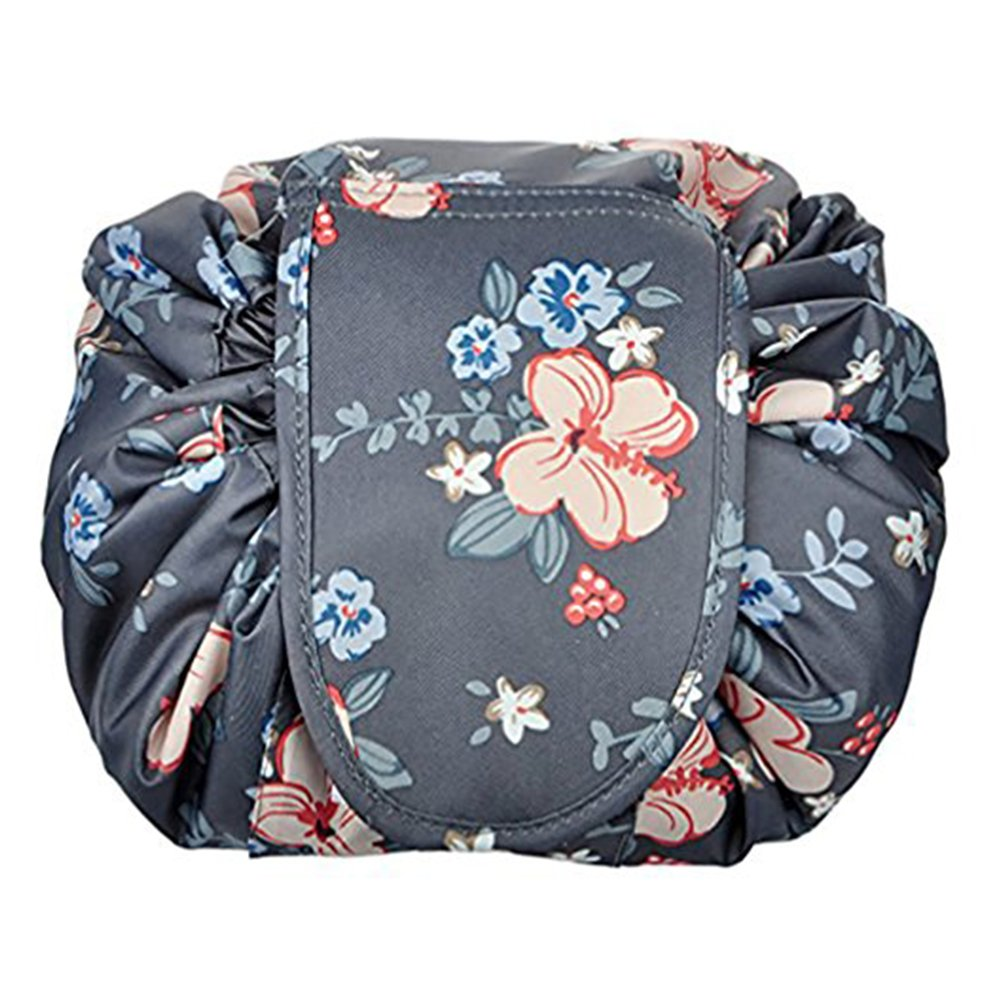 Home-Neat Portable Drawstring Cosmetic Bag Large Capacity Lazy Travel Makeup Pouch magic Toiletry Bag for Womens Girls (Flower)