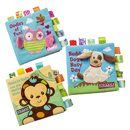 Jisen Baby Cloth Book Cute Crinkly Animal Embroidery Cloth Book Baby Intelligence Development Learning Baby Toy Bright Color Soft Book