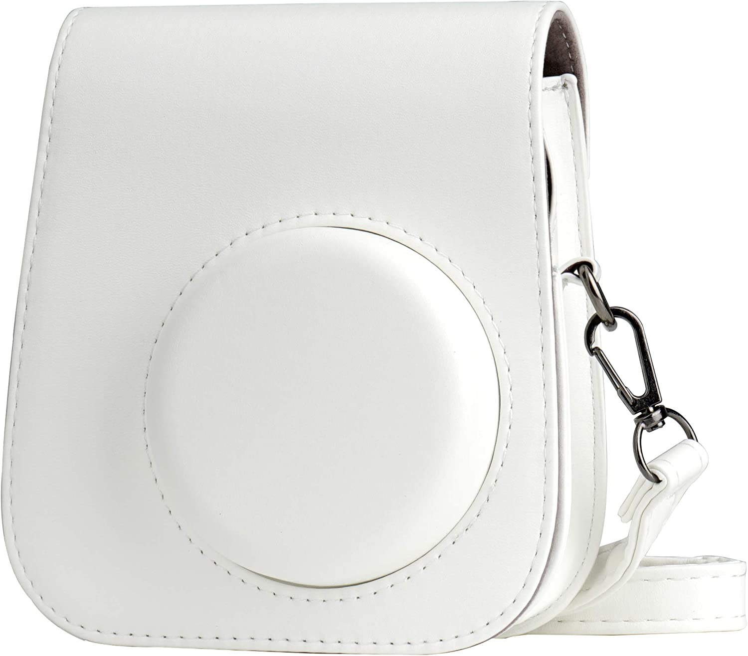 Blummy PU Leather Camera Case for Fujifilm Instax Mini 11 Instant Camera with Adjustable Strap and Pocket(White)