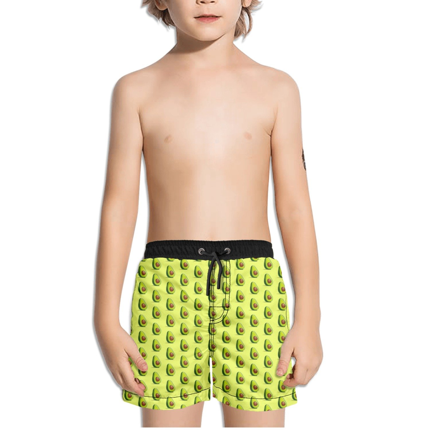 FullBo Tiny Avocado Fruit Pattern Little Boys Short Swim Trunks Quick Dry Beach Shorts