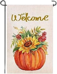 Shmbada Welcome Fall Burlap Garden Flag, Double Sided Premium Material, Seasonal Autumn Leaves Pumpkins Sunflowers Flora Home Outdoor Decorative Flags for Yard Lawn Patio Farmhouse, 12.5 x 18.5 inch
