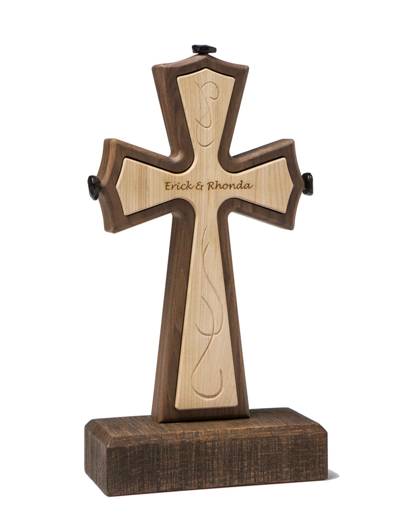 Unity Cross Rustic Collection Solid Black Walnut and Curly Maple