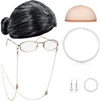 Old Lady Cosplay Set Granny Wig Cap Glasses Chain Cords Faux Pearl Bead Necklace (Black White Bun Wig)