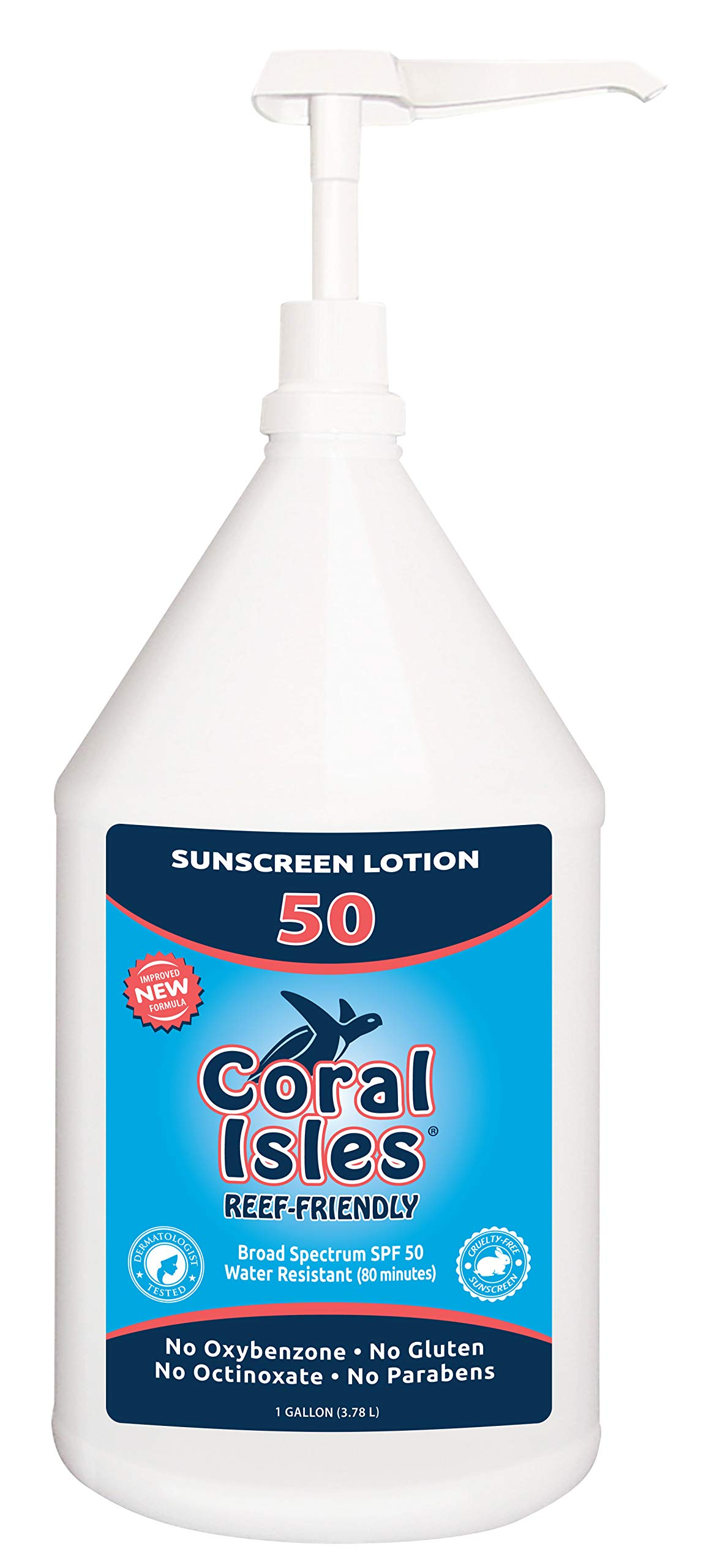 Gallon 128 oz Coral Isles REEF FRIENDLY & Safe Sunscreen - Broad Spectrum, NO Oxybenzone, NO Octinoxate, NO Parabens, Water Resistant 80 min